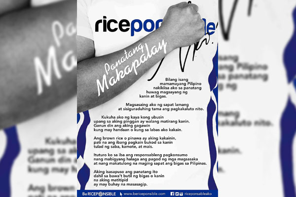 Panatang Makapalay a pledge in support of National Rice Awareness Month (DA) / PIA