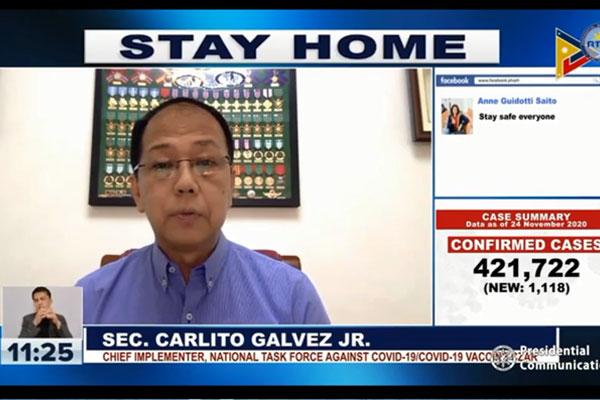 National Policy against Covid-19 chief implementer and vaccine czar Sec. Carlito Galvez Jr.  / Laging Handa Public Briefing