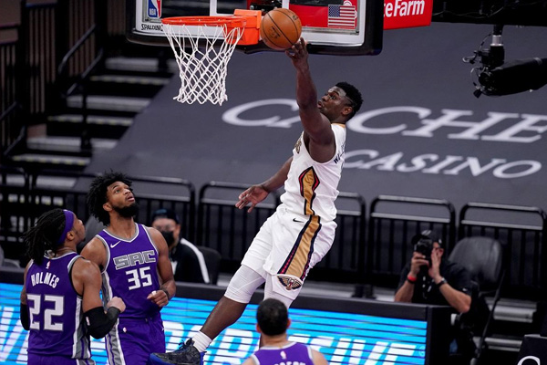 New Orleans Pelicans forward Zion Williamson (1) makes a shot after being fouled against the Sacramento Kings in the fourth quarter of their game at the Golden 1 Center on Sunday, January 17, 2021 (US time). Cary Edmondson-USA TODAY Sports via REUTERS