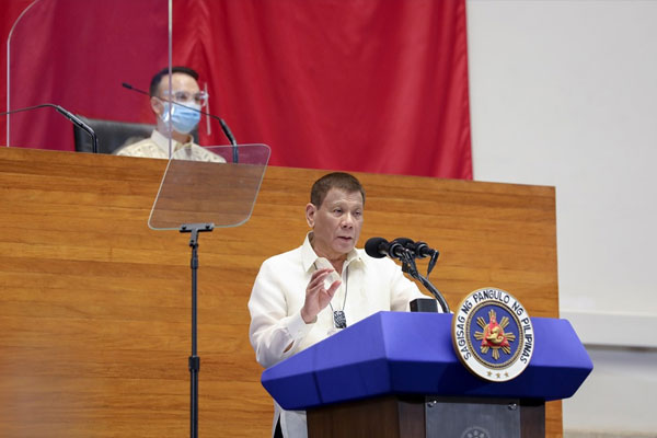 President Rodrigo Roa Duterte delivers his 5th State of the Nation Address at the House of Representatives Complex in Quezon City on July 27, 2020. / PCOO