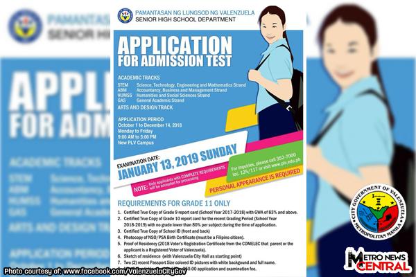 ADVISORY: Application for Pamantasan ng Lungsod ng Valenzuela SHS Admission test on going