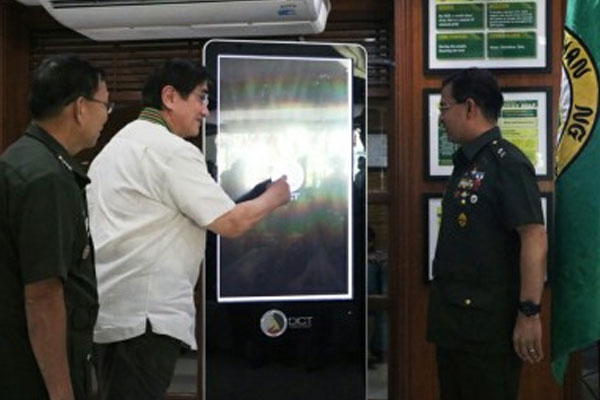 DICT Secretary Gregorio Honasan presses the ceremonial button activating the free Wi-Fi at the Army General Hospital (AGH) in Fort Bonifacio, Taguig City on Tuesday / PNA