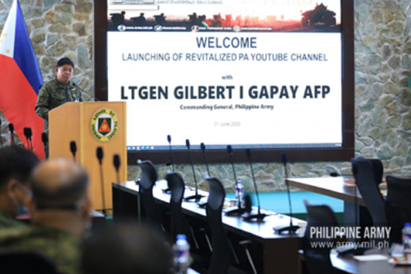 Army commander, Lt. Gen. Gilbert Gapay leads the launching of the PA's revitalized YouTube channel in Fort Bonifacio on Monday (June 1, 2020) / PNA