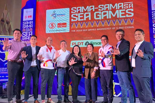 TV5 and Cignal TV unveiled their broadcast campaign for the 2019 SEA Games earlier at Raffles Makati.