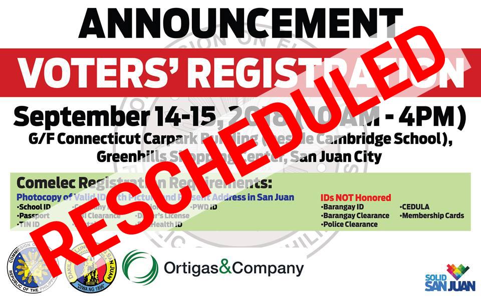 Satellite Voter%u2019s Registration rescheduled on Sept 21-22