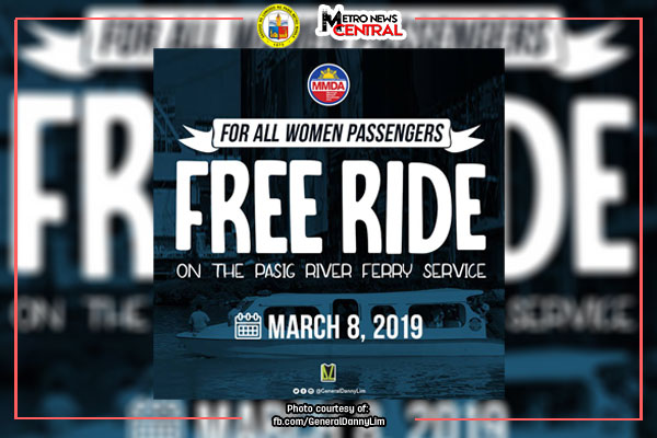 Pasig River Ferry offers free rides to women