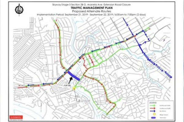 CLOSED FOR SKYWAY STAGE 3. Shown is the MMDA's traffic management plan for September 21-22, which suggests alternative roads for affected motorists. The MMDA says the closure of the road from the San Juan River to G. Araneta Avenue would give way to the construction of the Skyway Stage 3. / Photo Courtesy MMDA