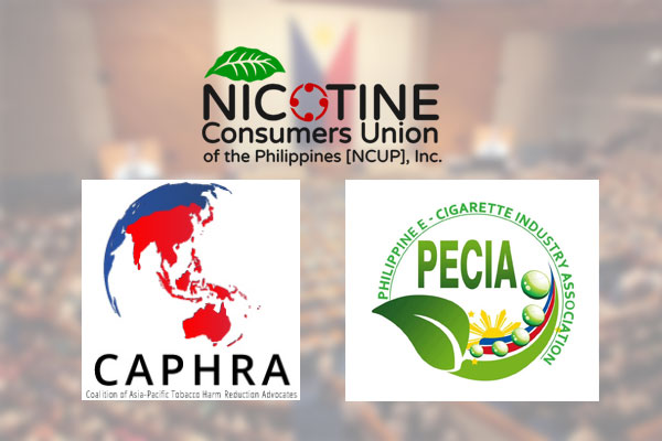 Coalition of Asia Pacific Tobacco Harm Reduction Advocates (CAPHRA), Nicotine Consumers Union of the Philippines (NCUP) and Philippine E-cigarette Industry Association (PECIA)