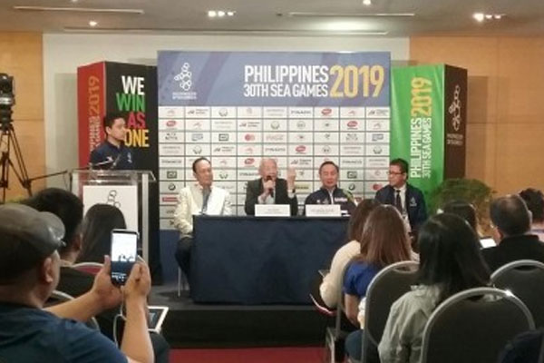 Olympic Council of Asia (OCA) vice president Wei Jizhong (2nd from left) commends the Philippines hosting of the 30th Southeast Asian Games during a press conference at the World Trade Center in Pasay City on Monday (Dec. 2, 2019) / PNA