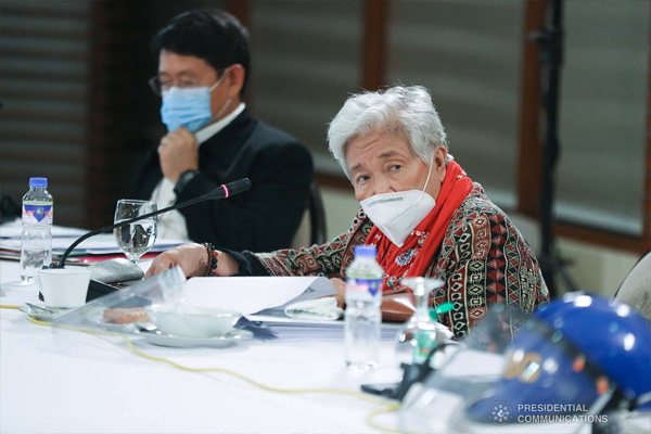 Education Secretary Leonor Briones joins the meeting with members of the Inter-Agency Task Force on the Emerging Infectious Diseases (IATF-EID) presided by President Rodrigo Roa Duterte at the Malago Clubhouse in Malaca%uFFFDang on May 28, 2020. ACE MORANDANTE/PRESIDENTIAL PHOTO