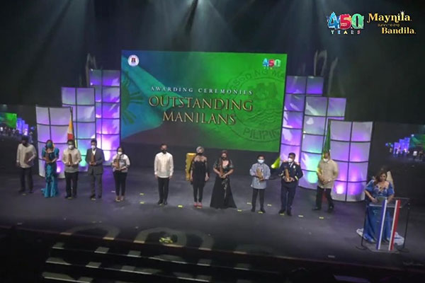 Twelve Outstanding Manilans were honored on the eve of the 450th anniversary celebration of the Araw ng Maynila on Wednesday evening (June 23, 2021) at the Metropolitan Theater. Manila Mayor Francisco Isko Moreno Domagoso said that the awardees showed exemplary performance in their chosen field. (Screengrab)