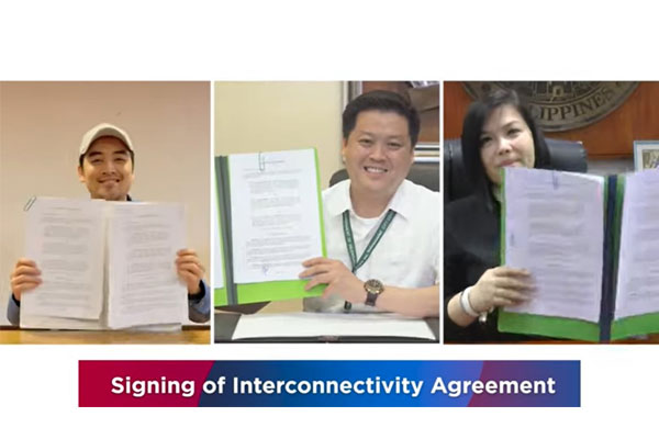 Pasig City Mayor Vico Sotto (left), Valenzuela City Mayor Rex Gatchalian (center) and Antipolo City Mayor Andrea Ynares (right) virtually sign an interconnectivity agreement for the PasigPass, ValTrace app, and Antipolo Bantay Covid-19 contact tracing solutions in an undated video. The streamlining of the unified digital contact tracing solutions in the cities of Antipolo and Valenzuela takes effect Monday (Jan. 25, 2021). (Screengrab from Valenzuela City PIO video) / PNA / Rainier Eubra