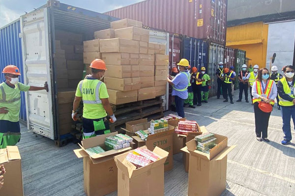 Fake cigarettes  seized in port of Manila by BOC / BOC Facebook page