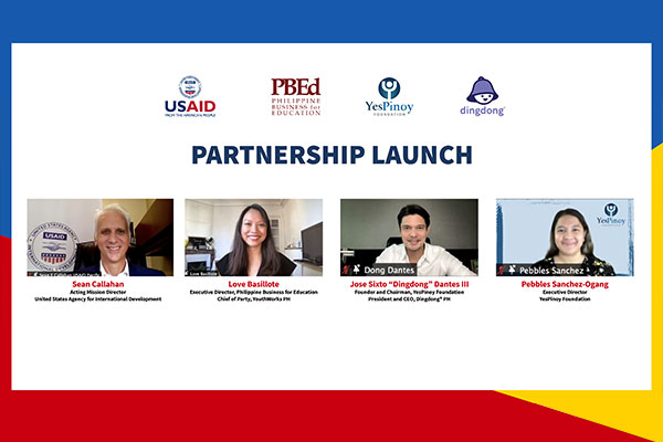 USAID acting Mission Director Sean Callahan, YouthWorks PH chief of party Love Basillote, YesPinoy Foundation founder and chair Dingdong Dantes, and YesPinoy Foundation executive director Pebbles Sanchez-Ogang grace the virtual launch of the Delivery Service Riders Training Program on Friday (Sept. 3, 2021). The partnership of the US-backed YouthWorks PH and YesPinoy Foundation will expand training and job opportunities for the youth in the courier industry. (Photo courtesy of US Embassy in Manila)