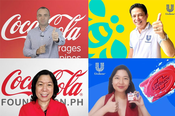 Commitment and excitement from Coca-Cola and Unilever Philippines to launch Project Clean Hands  (From upper left - Gareth McGeown, CCBPI President & CEO; Cecile Alcantara, CCFPI President; Ed Sunico, Unilever Vice President; and Ann Esteves, Unilever Marketing Director)