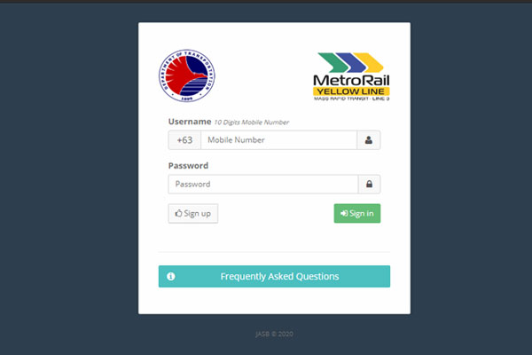 The login/sign up page of the MRT-3 Trace web application at trace.dotrmrt3.gov.ph.