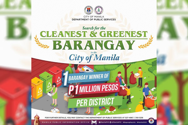 Search for the cleanest and greenest barangay in every district of the City of Manila / Isko Moreno twitter